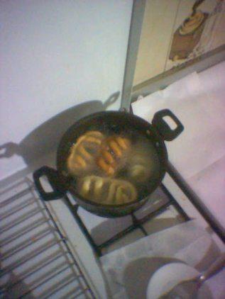 frittura in pentola alta con olio già bollente