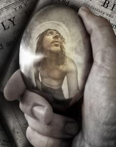[reflective spoon] Jesus | Tribute to Escher 11x14