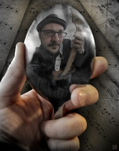 [reflective spoon] The Guitarist   Tribute to Escher 11x14